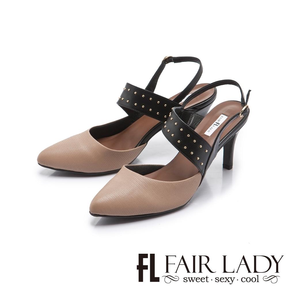 FAIR LADY 優雅小姐 尖頭繞帶圓口後拉帶細高跟鞋 摩卡