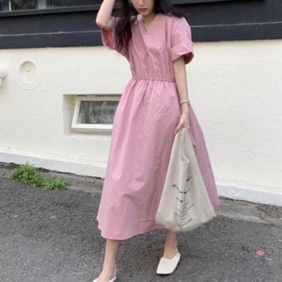 2F韓衣-簡約V領素色收腰造型短袖洋裝-3色(F)