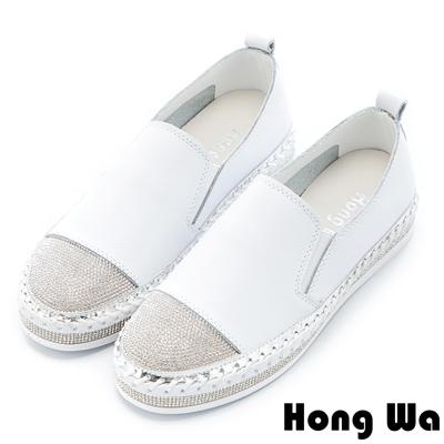 Hong Wa 時尚水鑽貼飾拼接牛皮樂福鞋 - 白