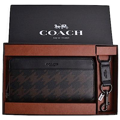 COACH 新款千鳥格長夾禮盒組-奢華棕(附原廠禮盒)
