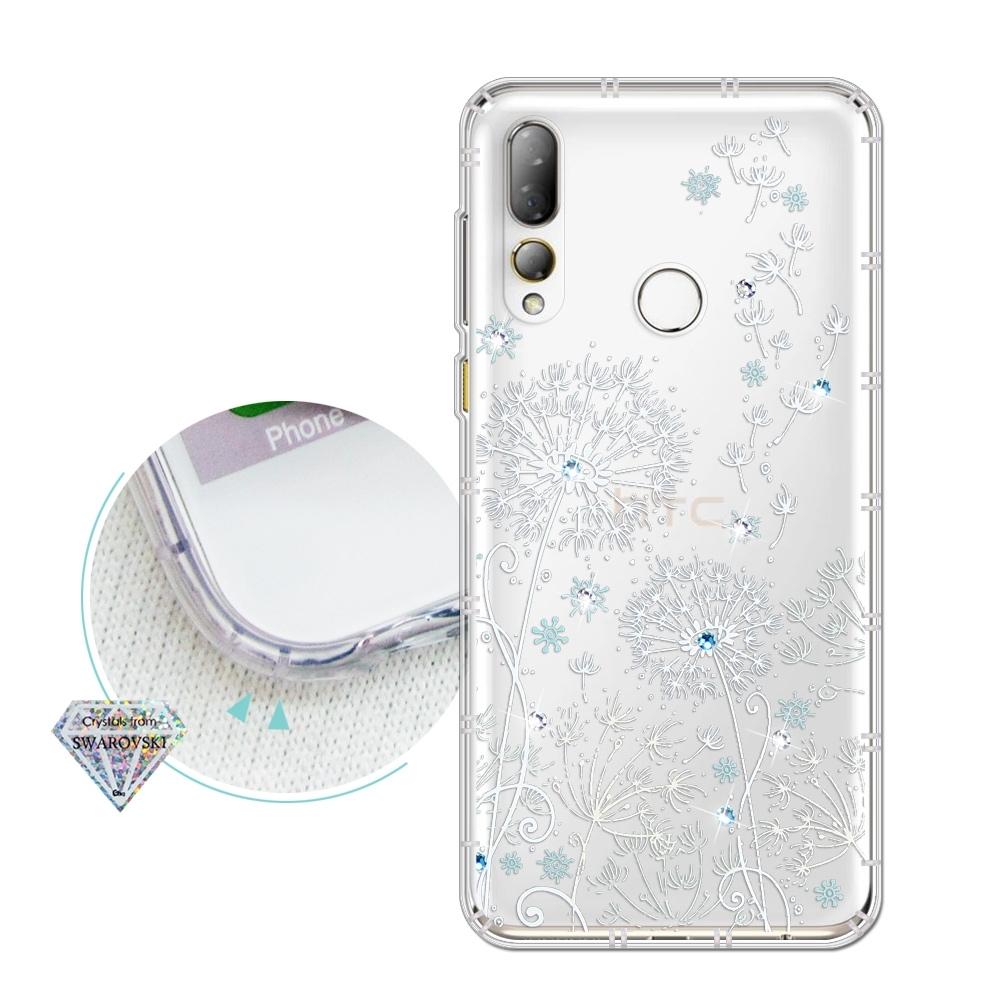 HTC Desire 19+ 浪漫彩繪 水鑽空壓氣墊手機殼(風信子)