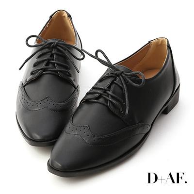 D+AF 經典英倫.雕花綁帶尖頭牛津鞋*黑
