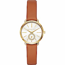 Michael Kors PORTIA 紐約晶鑽小秒針手錶-銀x咖啡/28mm MK273