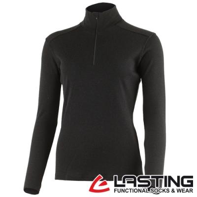 【LASTING捷克】女款羊毛抑菌除臭透氣內著立領拉鍊衫LT-BRENDA黑