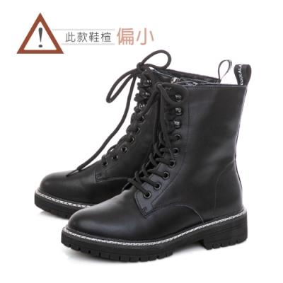 TAS經典牛皮綁帶馬汀馬丁短靴–個性黑