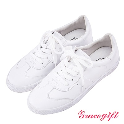 Grace gift-牛皮休閒綁帶小白鞋 白