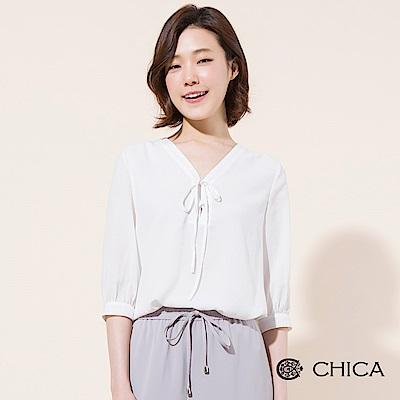 CHICA 知性女孩綁帶細條紋雪紡上衣(2色)