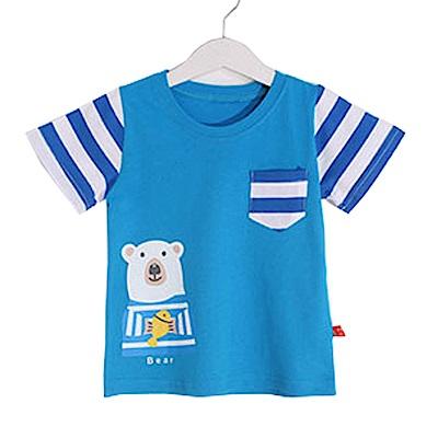 熊印花純棉短袖T恤 藍 k50362 魔法Baby