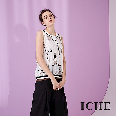 ICHE 衣哲 時尚女伶印花羅紋拼接無袖造型背心上衣-白