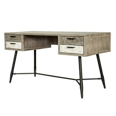 【AT HOME】工業仿舊4.6尺木紋實木書桌/工作桌/電腦桌(哈瓦那)