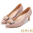ORIN 典雅氣質 梯形金屬釦環羊皮高跟鞋-粉色