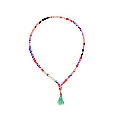 SHASHI Lily Multi 微顆粒珠珠 流蘇手鍊 水藍 彈性手圍