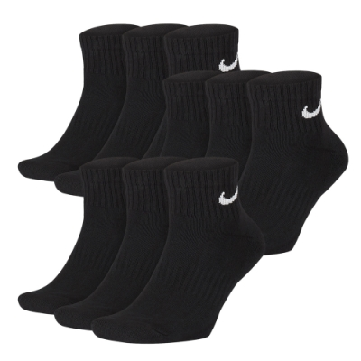 NIKE 中筒襪 厚底 Everyday Cushion Dri-Fit Ankle 9雙1入 黑白色 SX7667010_3 SX7667100_3