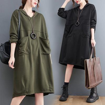 【KISSDIAMOND】文青拼接連帽衛衣洋裝(KDD-7991)