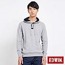 EDWIN 開襟連帽長袖T恤-男-麻灰