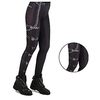 摩達客 英國進口義大利製Pamela Mann 搖滾金屬皮帶圖紋內搭褲