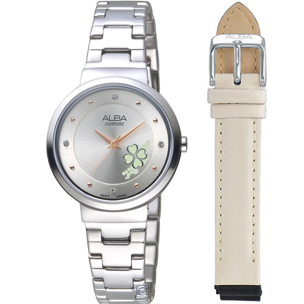 ALBA 雅柏 幸運草時尚套組腕錶(AH8569X1)30mm