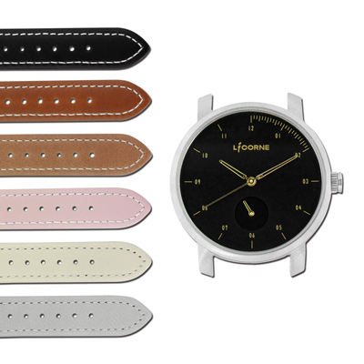 LICORNE力抗  MYO 藍寶石玻璃 可替換自由搭配真皮手錶-黑金色/38mm