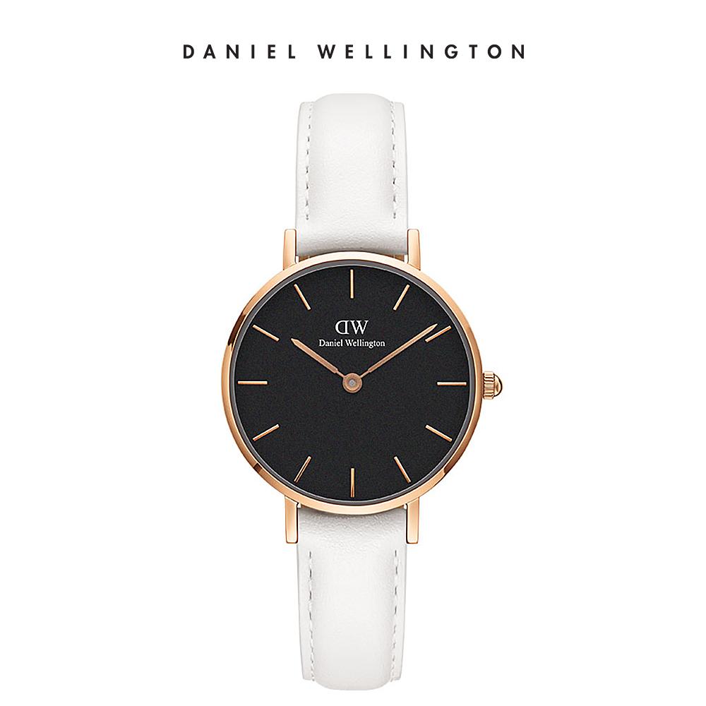 DW 手錶 官方旗艦店 28mm金框 Classic Petite 純真白真皮皮革錶