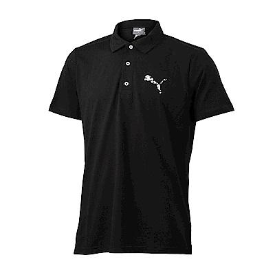 PUMA-男性BT系列大跳豹短袖Polo衫-黑色-亞規