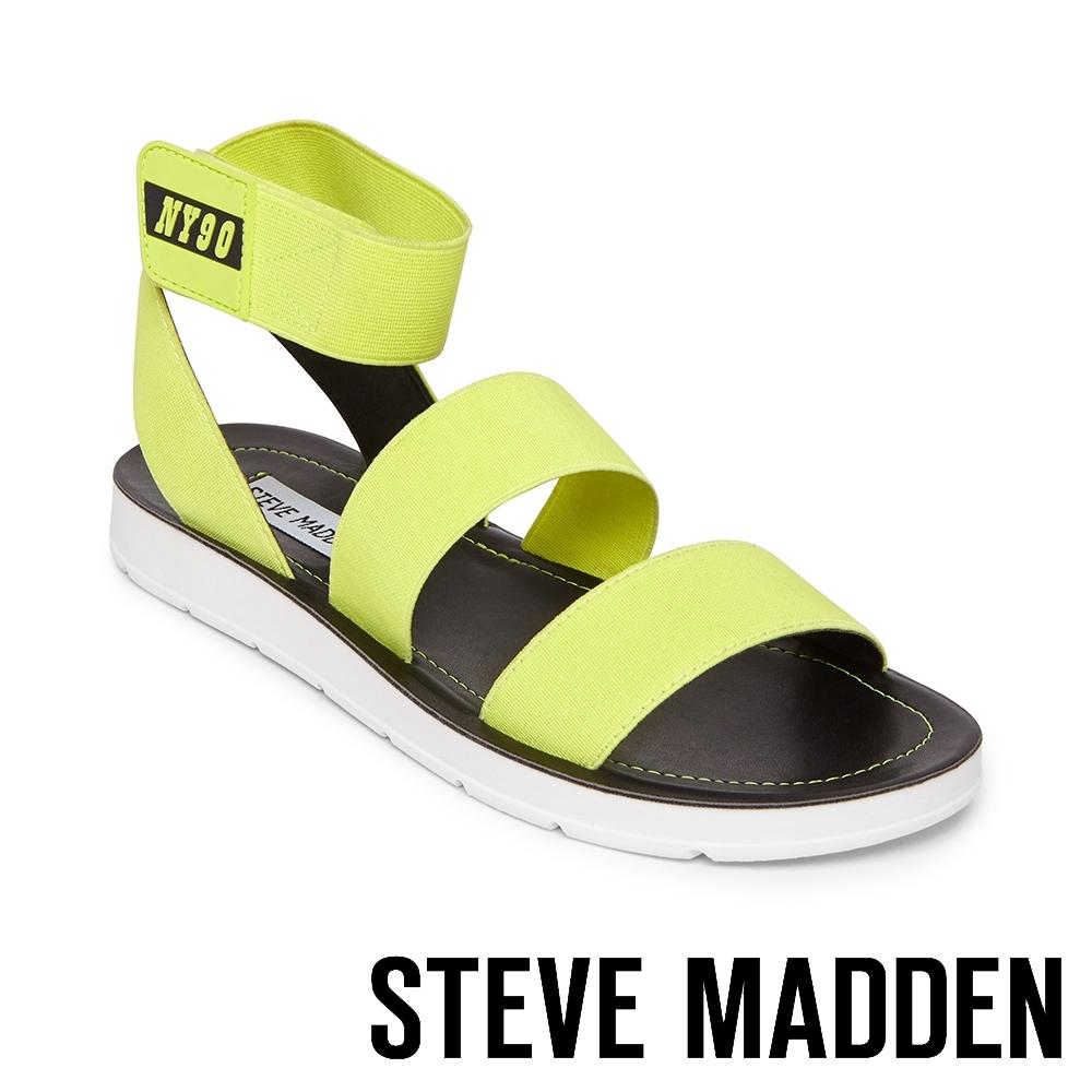 STEVE MADDEN-HENLEY 玩彩撞色NY90交叉束帶平底涼鞋-螢光黃