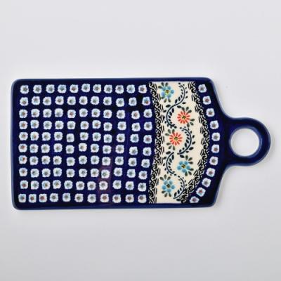 波蘭陶 典雅花團系列 長方形呈菜盤 14.3x28.5cm 波蘭手工製