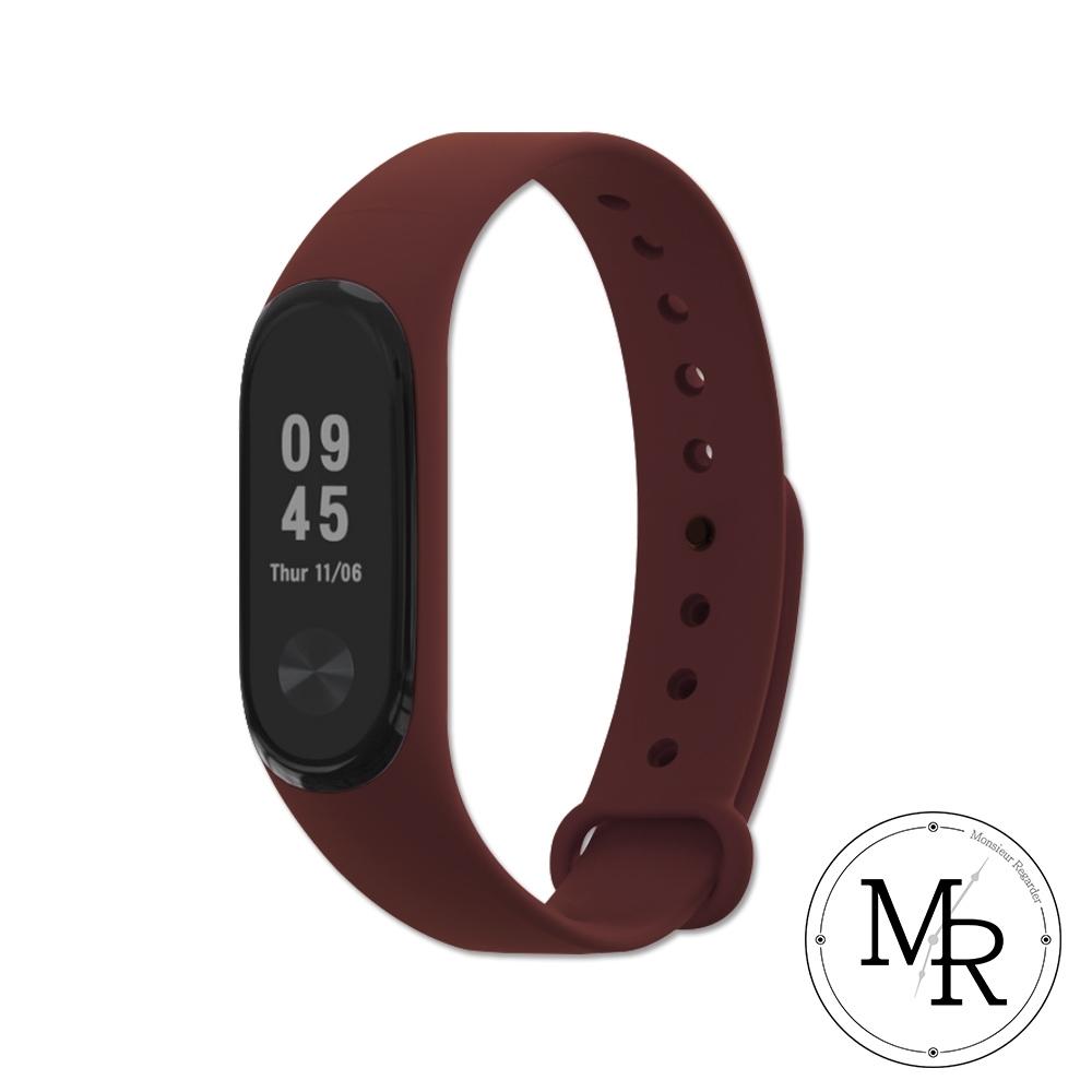 小米手環3/4通用單色矽膠運動替換錶帶