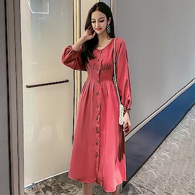 DABI 韓系單排釦修身燈籠袖收腰長版長袖洋裝
