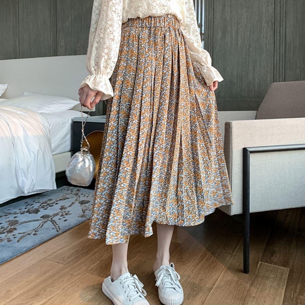 La Belleza鬆緊腰多色印花雪紡壓折百摺裙大擺裙(有內襯)