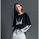 DADA SUPREME 皇冠長袖運動假兩件上衣-女款-黑白