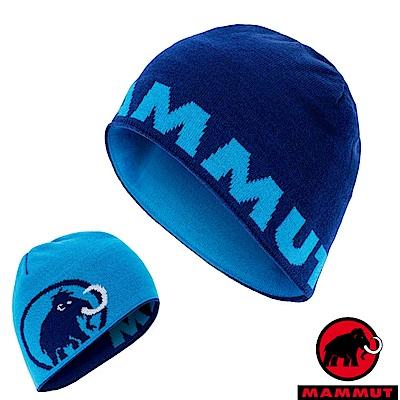 MAMMUT 長毛象 大Logo Beanie 羊毛雙層針織保暖帽_群青藍/帝國藍