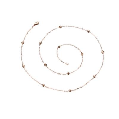 tic tac toe 白鋼造型單鍊-圓珠4mm 玫瑰金色