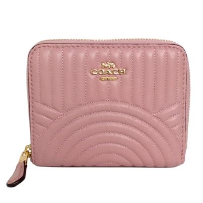 COACH粉紅線縫直紋圓弧全皮ㄇ型拉鍊短夾