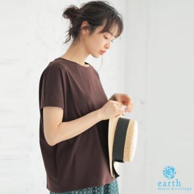 earth music 簡約法式袖素面上衣