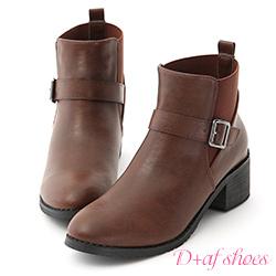 D+AF 率性時尚.側釦環中跟切爾西短靴*棕