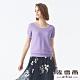 MYVEGA麥雪爾 純棉三角形水鑽坑條針織衫-紫 product thumbnail 1