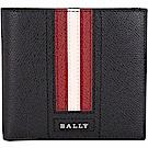 BALLY TRASAI 經典紅白條紋黑色八卡對折短夾