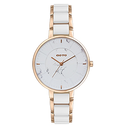 GOTO 緣起不滅大理石紋雙色時尚手錶-IP玫x白/36mm