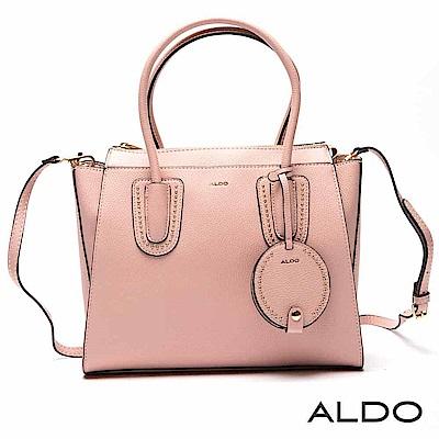 ALDO 原色附鏡子吊飾綴金屬鉚釘圓珠托特包~亮粉紅色