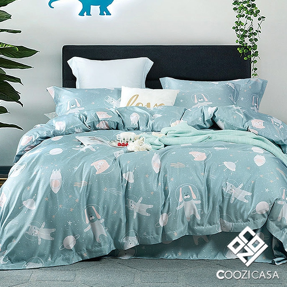COOZICASA宇宙世界  單人四件式吸濕排汗天絲兩用被床包組