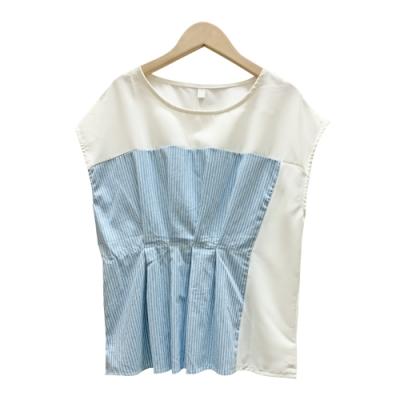 壓摺拼接條紋雪紡上衣 共二色 TATA-F