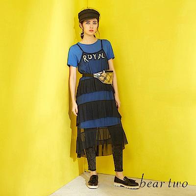 beartwo 微透蛋糕紗裙兩件式長版洋裝(二色)