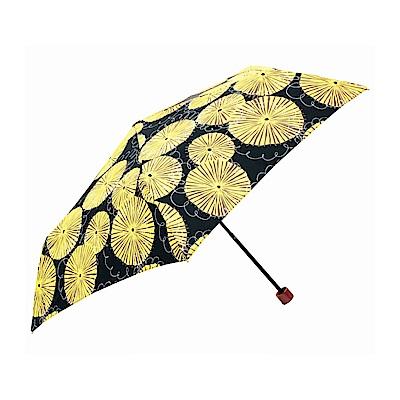 日本Prairiedog 晴雨兩用抗UV摺疊收納傘+多功能收納傘袋-蒲公英(黑)