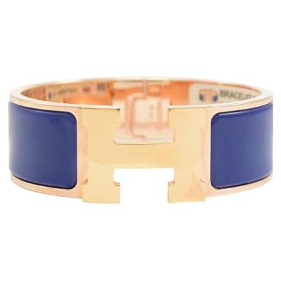 HERMES CLIC H LOGO琺瑯扣式寬版手環(玫瑰金/靛藍)
