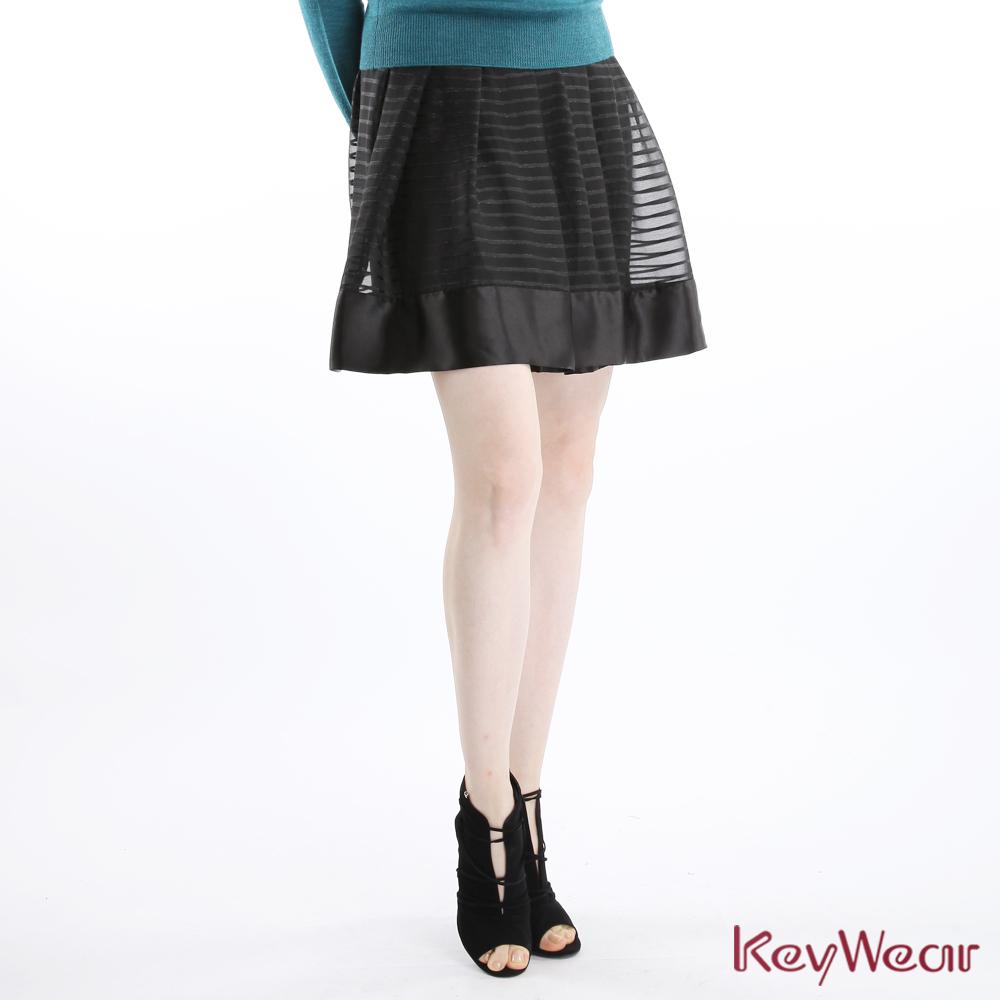 KeyWear奇威名品    日本進口復古條紋交織銀蔥及膝裙-黑色