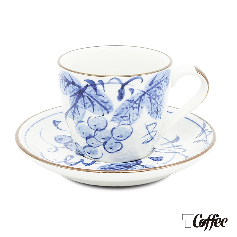 TCoffee MILA-日式手繪咖啡杯盤組 藍染葡萄150ml