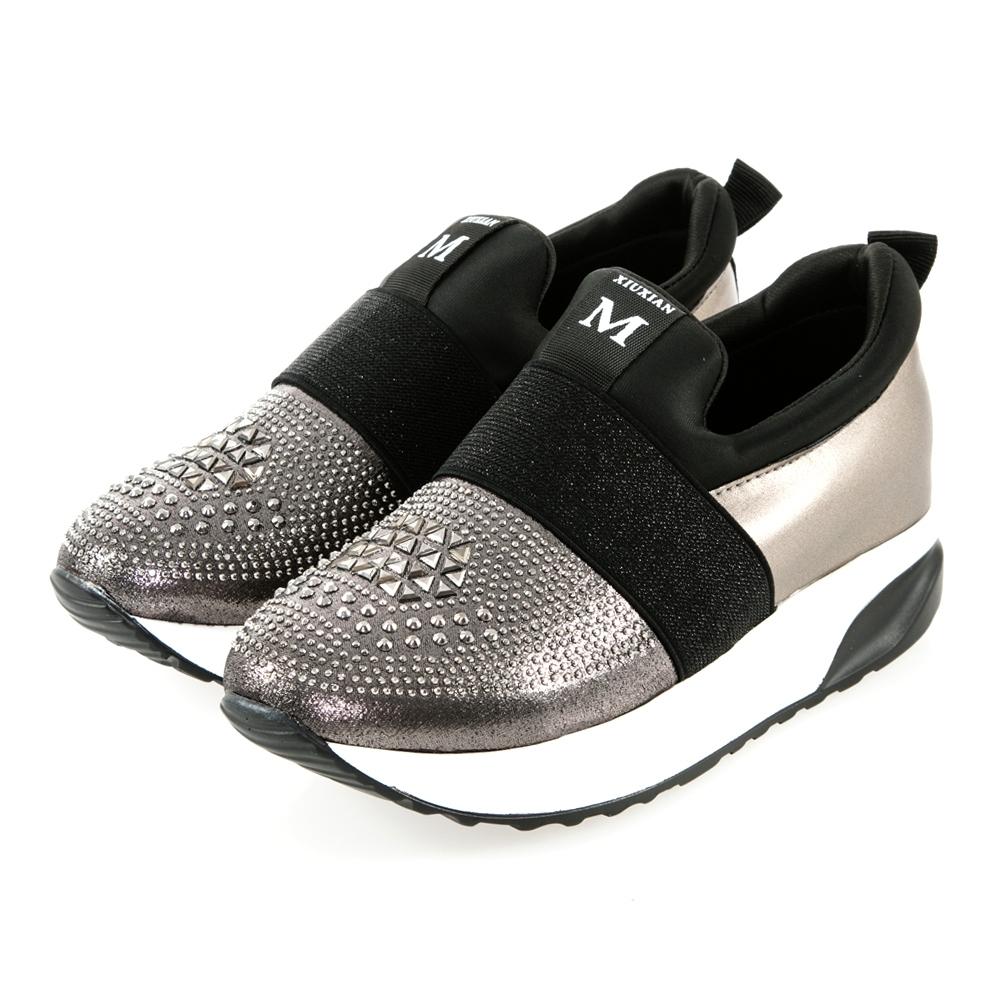 JMS-閃耀鑽飾拼接束帶輕量厚底內增高休閒鞋-銀灰色