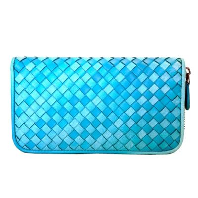 Yasmine 進口羊皮手工編織雙色拉鍊長夾(水藍)