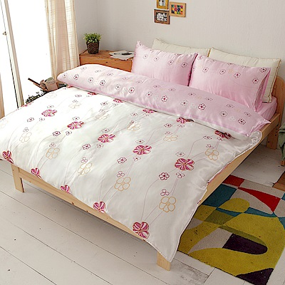 朵朵浪漫  絲緞加大四件式鋪棉兩用被床包組
