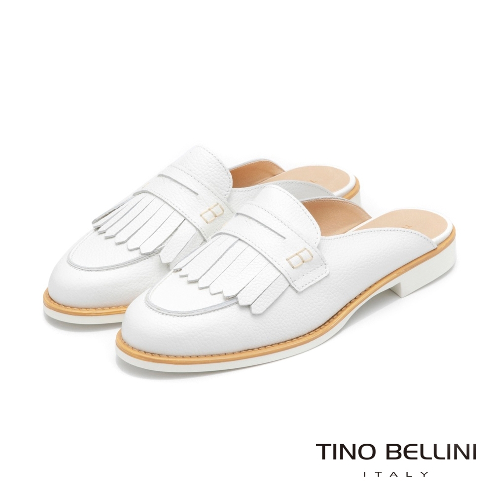 Tino Bellini義大利進口學院派流蘇穆勒鞋_白